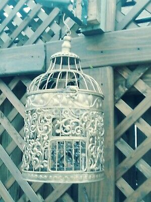 "Vintage Large Ornate Victorian Styled Decorative Hanging Brass Bird Cage 20""x12"""