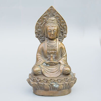 Collect China Old Bronze Hand-Carved Buddhism Kwan-Yin Bring Luck Decor Statue