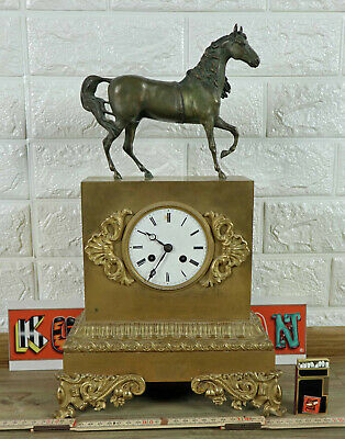 PENDULE ANTIK PFERD UHR FIGURENUHR MESSING BRONZE gilted clock horse Louis