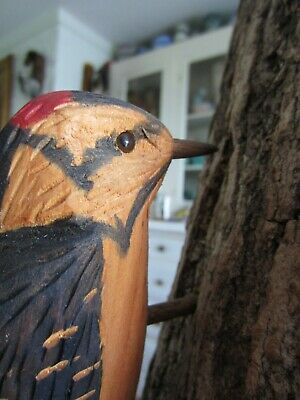 Wood Carved Woodpecker Bird Signed