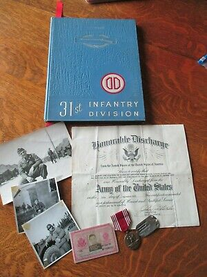 Small Korean era 31st Infantry Division grouping Dog Tag discharge named GC etc.