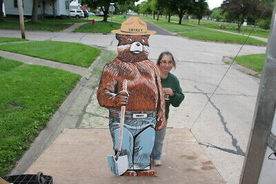 "Large Vintage Smokey Bear Forest Fire Park Hunting Fishing Gas Oil 68"" Wood Sign"