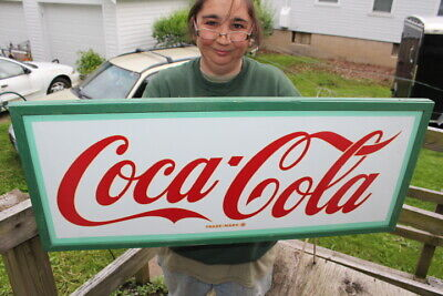 "Vintage 1950's Coca Cola Soda Pop Gas Station 32"" Metal Sign~Nice"