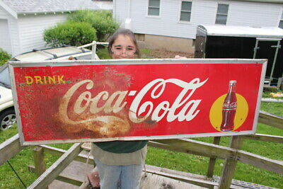 "Large Vintage 1947 Coca Cola Soda Pop Gas Station 54"" Metal Sign"
