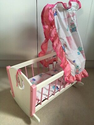 Wooden rocking cot for baby doll with canopy & bedding