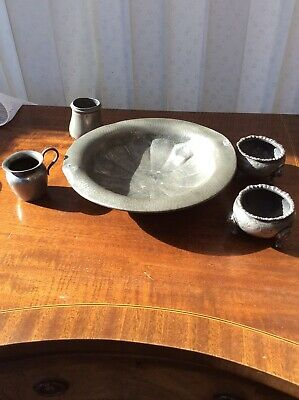 Lot Of 5 Antique Pewter Items Argent Dish, Pair Of Salts,  Small Jug And Pot