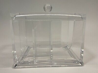 Vintage Lucite Trinket Notions Bathroom Desk Box with Lid Clear Acrylic