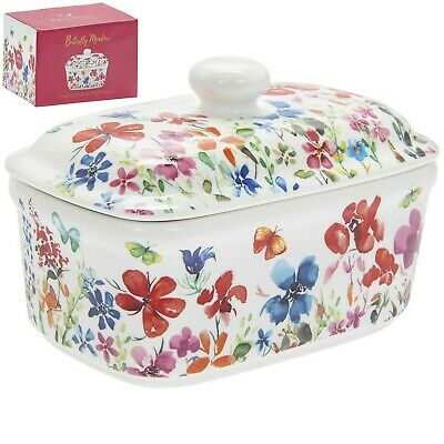 Butterfly Meadow Design Fine China Serving Butter Dish Dinnerware with Bell Lid