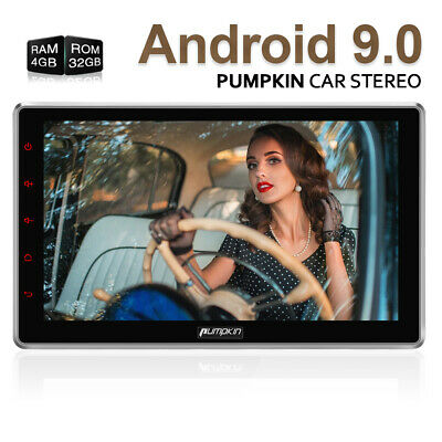 """10.1"""" Android 9.0 Double DIN Car Stereo 4GB+32GB Bluetooth GPS Sat Nav DAB+ WiFi"""