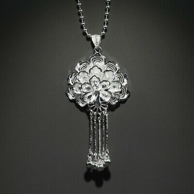 Collectable China Old Miao Silver Hand-Carved Proud As A Peacock Noble Necklace