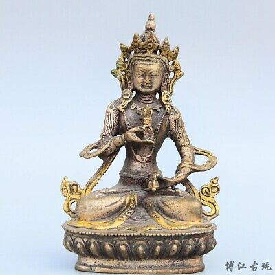 Collectable China Old Miao Silver Gilding Hand-Carved Exorcism Buddhism Statue