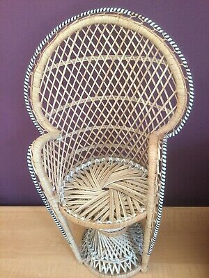 A Rare Small Wicker Dolls Peacock Chair Display Plant Home Decor Item