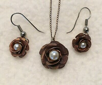 Vintage Coppercraft Guild Flower Necklace & Earrings