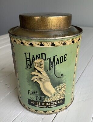 Vintage Antique Hand Made Flake Cut Round Canister Tobacco Tin OUTSTANDING!