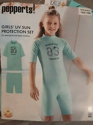 Girls Children's Pepperts UV Sun Protection Top And Bottoms Set Age 6-8 Years