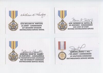 Us Generals Signed/Autographed Index Card Lot (8)