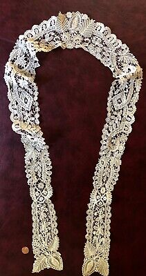 Unusual long late Victorian Duchesse bobbin lace collar COSTUME
