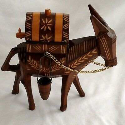 Wooden Carving Donkey with Barrel and Baskets