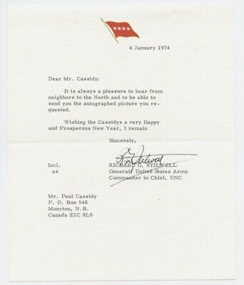General Richard G. Stilwell, Us Army, Signed Letter Dated 1974,Wwii,Normandy