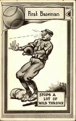 Baseball First Baseman Stops a Lot of WIld Throws Antique Postcard Vintage
