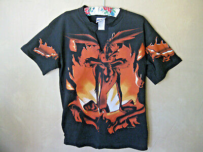 Looney Tunes Wile E Coyote Tee Shirt Black Med 1996 Cotton Graphic Front & Back