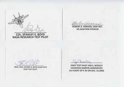 Us Early Test Pilots Signed Index Card Lot (8) Hoover,Beesley,Manke