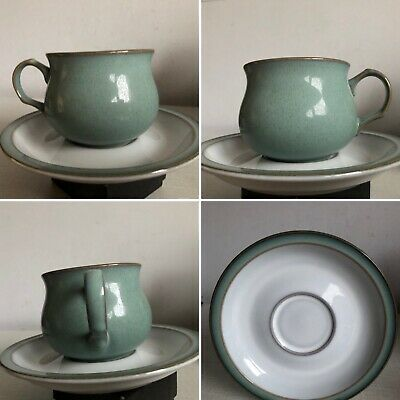 Vintage Denby Pottery Regency Green Tea Cup And Saucer Set Barely Used