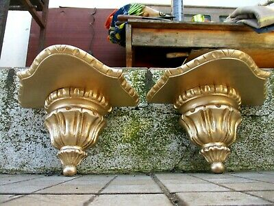 Vintage Lovely Pair Corbel Wall Shelf Bracket Art Wood Carved Gilt Gilded Gold