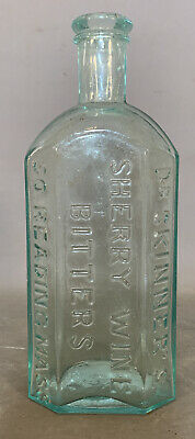 Antique VICTORIAN Cure DR SKINNERS Old SHERRY WINE BITTERS Blue AQUA Dug BOTTLE