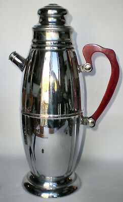 Vintage Chrome Cocktail Shaker with Red Lucite Handle