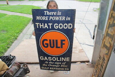 """Large That Good Gulf Gasoline Gas Station Oil 48"""" Metal Sign"""