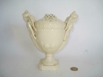 Rare Antique English Leeds Pottery Figural Creamware Covered Vase Urn 18Th C