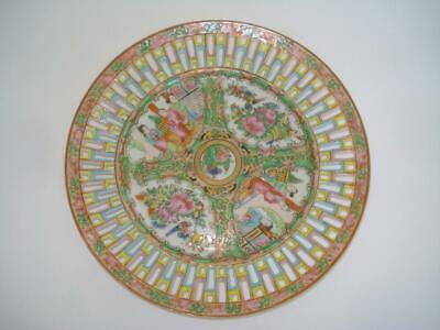 Chinese Export Porcelain Famille Rose Medallion Reticulated Plate 19Th C