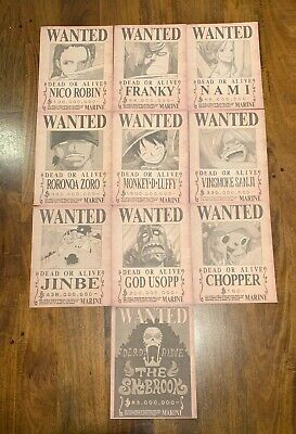 One Piece Straw Hat Crew Luffy Wanted Poster Set HIGH QUALITY Anime Manga Bounty