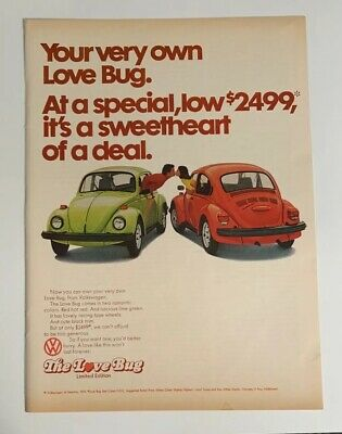 1974 Volkswagen VW Love Bug Beetle Print Ad Limited Edition Sweetheart Of A Deal