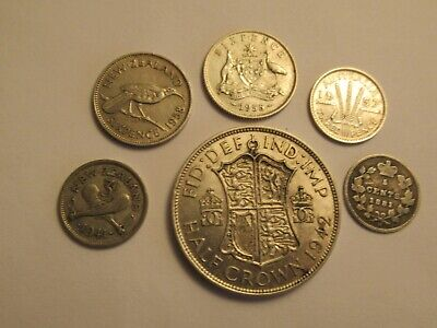 6 foreign Coins, 5 silver,  mixed dates, denominations, countries