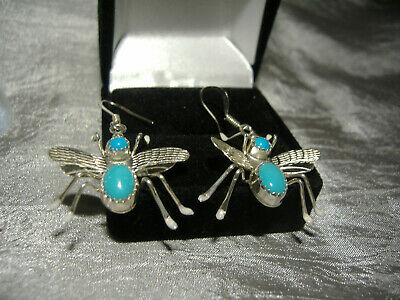 Bee Design Sterling Silver Earrings Set With Turquoise