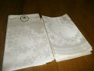 VINTAGE PURE IRISH LINEN DOUBLE DAMASK SHAMROCK SQUARE TABLECLOTH NAPKINS w TAG