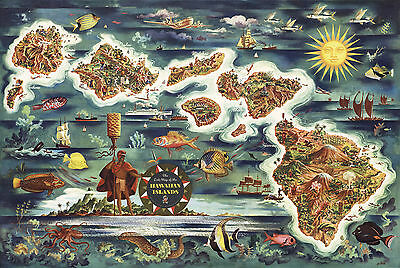 Early Pictorial Dole Map Hawaiian Islands Vintage Wall Art Print Poster Decor