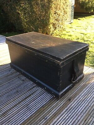 Vintage Pine Chest Trunk Box Coffee Table Blanket Coffer Military Carpenters