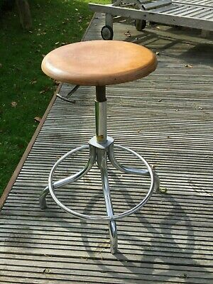 Vintage Industrial French Machinists Height Adjustable Swivel Stool Chair Seat