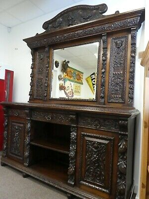 Huge Superb Heavily Carved Oak Victorian Mirror Backed Sideboard Delivery Pos