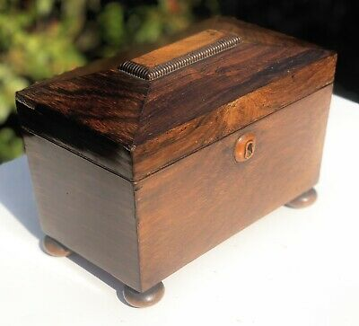 Victorian Rosewood Antique Tea Caddy Container Box With Key