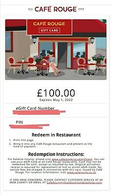 Café Rouge Restaurant Gift Card Voucher £100 valid until 2022