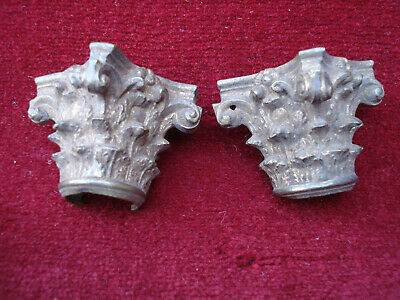 "Pair 3/4"" Round Brass Corinthian Style Capitals For 18Th C Longcase Clock Hood"
