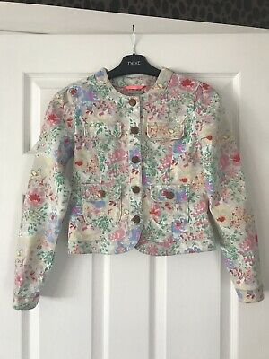 Next Girls Floral Denim Jacket IMMACULATE WORN ONCE Soft Cotton Age 9-10