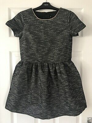 Next Girls Party Dress Puffball Black Silver Sparkle Short Sleeves Age 11
