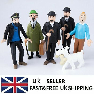 6x The Adventures Of Tintin Action Figures Collectible Mini Model Set Toys Gift