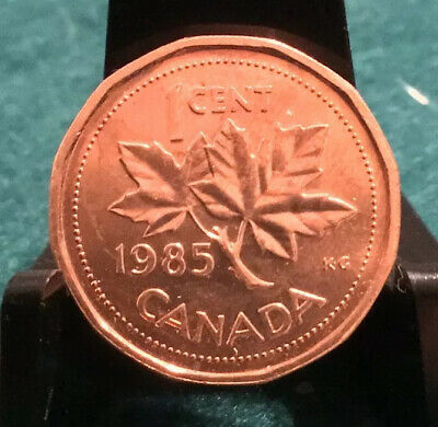 """1985 EXTREMELY RARE UNC """"""""POINTED 5"""""""" Variety 1cent penny. Ships From Canada (B)"""