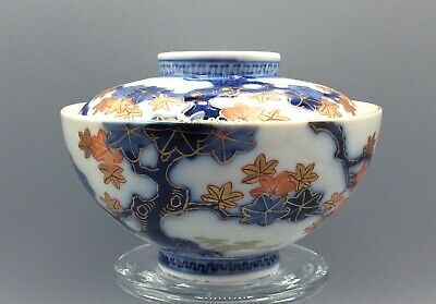 19th CENTURY JAPANESE ARITA WARE PORCELAIN BOWL AND COVER SIGNED